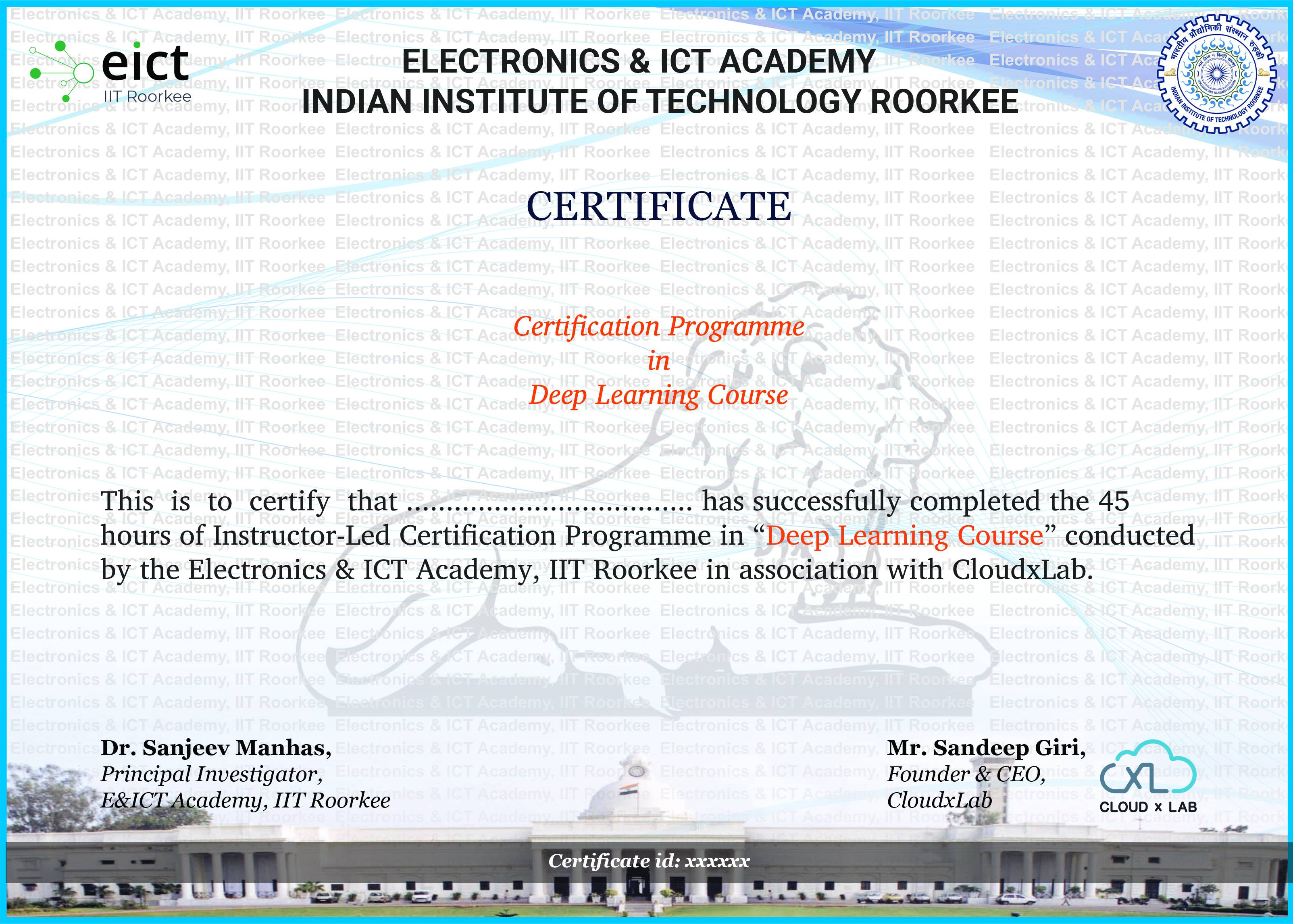 Course Certificate Sample